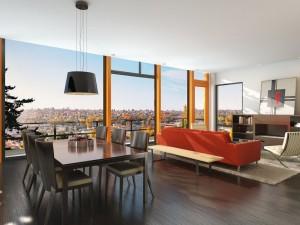 صحنه اتاق نشیمن هتل میز ناهار غذاخوری شومینه قاب عکس تراس بالکن کف چوب مدل آماده رندر | A7AI1802