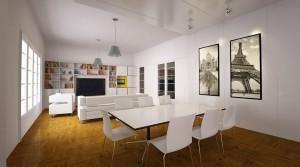صحنه اتاق تلویزیون ال سی دی کتابخانه مبل راحتی میز صندلی غذاخوری مدل آماده رندر | A7AI1803