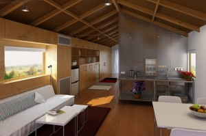 صحنه اتاق پذیرایی نشیمن آشپزخانه مبل ظرف میوه گلدان کف چوب یخچال مدل آماده رندر | A7AI1805