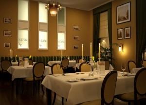 صحنه رستوران کلاسیک صندلی میز کلاسیک قاب عکس گلدان شمع جاشمعی کف چوب مدل آماده رندر | A7AI1809