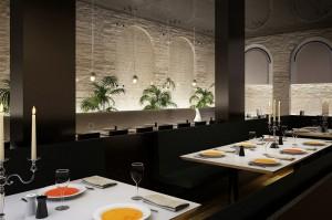 صحنه رستوران مدرن دیوار آجری شمع شمعدان گلدان مدل آماده رندر | A7AI1810