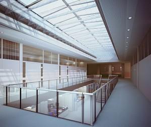صحنه فضای عمومی راهرو اداره کتابخانه مدل آماده رندر | A7AI1902