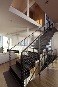 صحنه منزل خانه اتاق نشیمن پله مبل گلدان مدل آماده رندر | A7AI1904