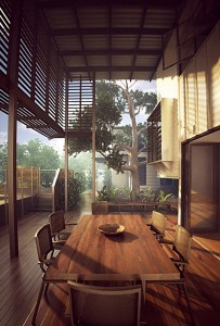صحنه تراس خانه بالکن میز چوبی درخت خانه چوبی مدل آماده رندر | A7AI1905