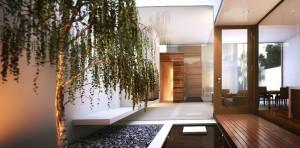 صحنه خانه منزل پاسیو درخت سنگریزه میز چوبی مدل آماده رندر | A7AI1907