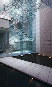 صحنه فضای عمومی بدنه فلزی پله فرار ساختمان مدل آماده رندر | A7AI1909