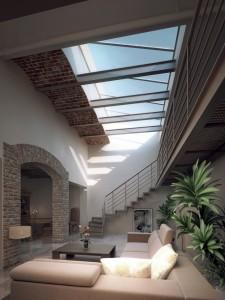 صحنه اتاق نشیمن مبل پله کوسن طاق آجری گلدان آباژور قاب عکس سقف تیراهن فلزی مدل آماده رندر | A7AI2102