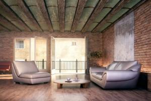 صحنه اتاق پذیرایی نشیمن آجری سقف تیر چوبی تراس بالکن مبل راحتی مدل آماده رندر | A7AI2104