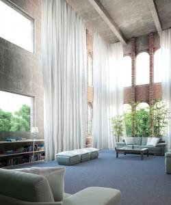 صحنه خانه کامل پذیرایی گلدان مبل کتابخانه پرده توری سقف بلند آجری مدل آماده رندر | A7AI2106