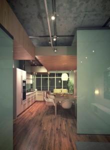 صحنه آشپزخانه کف پارکت میز صندلی غذا خوری لامپ هالوژن یخچال فریزر آباژور گلدان مدل آماده رندر | A7AI2108
