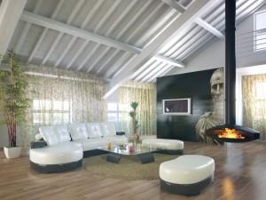 صحنه اتاق نشیمن پذیرایی شومینه اتاق تلویزیون سقف شیروانی مبلمان ال گلدان بلند پرده کف چوب مدل آماده رندر | A7AI2110