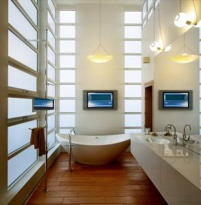صحنه دستشویی حمام وان روشویی حوله آباژور لوستر کف پارکت مدل آماده رندر | A7AI2203
