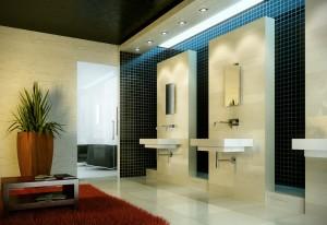 صحنه دستشویی روشویی گلدان تزئینی فرش پرزدار کاشی سرامیک مدل آماده رندر | A7AI2204