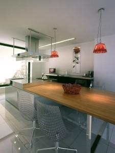 صحنه آشپزخانه مدرن صندلی کانتر گاز کتری هود استیل مدل آماده رندر | A7AI2210