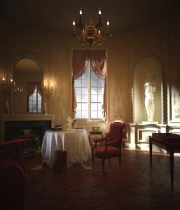 صحنه اتاق نشیمن کلاسیک استیل لوستر صندلی مجسمه پرده شومینه میز کار دیوار کار شده مدل آماده رندر | A7AI2302