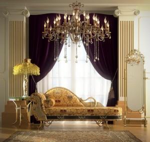 صحنه اتاق نشیمن مجلل هتل موزه مبل تک استیل کلاسیک لوستر آباژور آینه پرده ستون کار شده فرش ایرانی مدل آماده رندر | A7AI2303