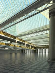 صحنه فضای عمومی مسقف فرودگاه ایستگاه مترو قطار مدل آماده رندر | A7AI2402