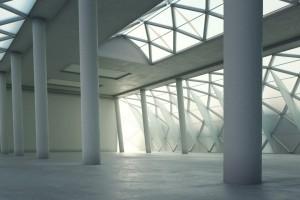 صحنه فضای عمومی سوله مسقف کف بتن سیمان مدل آماده رندر | A7AI2414