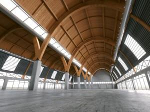 صحنه فضای کارگاه سوله سقف گرد کف بتونی مدل آماده رندر | A7AI2417