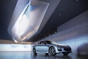 صحنه فضای تبلیغاتی ماشین سقف خاص ماشین مزدا سیکس سیلور مدل آماده رندر | A7AI2504