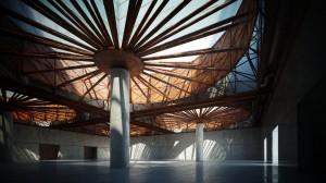 صحنه سالن سقف نورگیر کف گرانیت ستون گرانیت مدل آماده رندر | A7AI2613