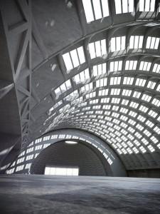 صحنه سوله بزرگ مسقف شیشه ای کف بتونی سیمانی سقف گرد مدل آماده رندر | A7AI2618