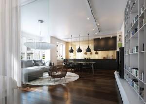 صحنه خانه منزل کامل اتاق پذیرایی نشیمن آشپزخانه لوستر مبل ال میز ناهارخوری کابینت گل گلدان شوفاژ کف پارکت ظرف انگور فرش چرم تخت خواب کف چوب پارکت لمینت مدل آماده رندر | A7AI2701