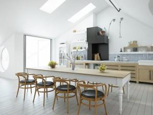 صحنه آشپزخانه ظرف سیب انگور سقف شیروانی میز صندلی چوبی غذاخوری فرگاز ماشین ظرف شویی شمع جا شمعی اتاق مطالعه کتابخانه چراغ مطالعه مبل تکی راحتی قاب عکس مدرن مدل آماده رندر | A7AI2703