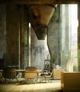 صحنه فانتزی اتاق کنفرانس اداری سوله سیلو قدیمی بوم نقاشی میز کنفرانس مدل آماده رندر | A7AI2705