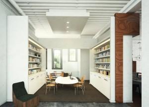 صحنه خانه کامل اتاق کار نشیمن کتابخانه اتاق پذیرایی کف موکت دیوار آجری مدل آماده رندر | A7AI2710