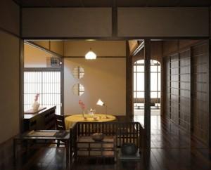 صحنه اتاق پذیرایی دکوراسیون چینی ژاپنی قوری چای مدل آماده رندر | A7AI2803