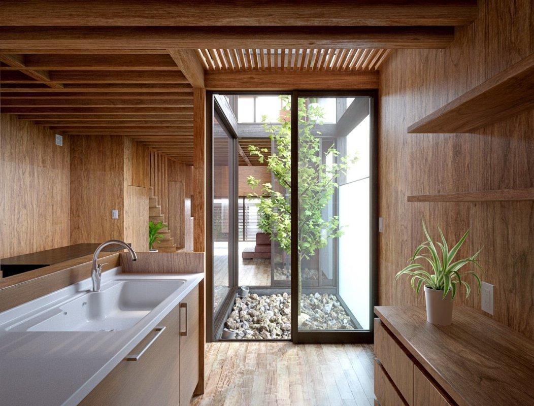 رندر آشپرخانه چوبی