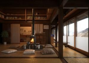 صحنه اتاق پذیرایی دکوراسیون چینی ژاپنی شومینه کتابخانه مدل آمده رندر | A7AI2805