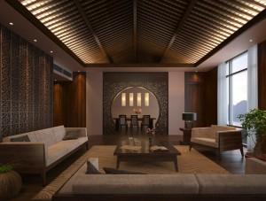 صحنه اتاق پذیرایی مبل چوبی فرش میز غذاخوری مدل آماده رندر | A7AI2806
