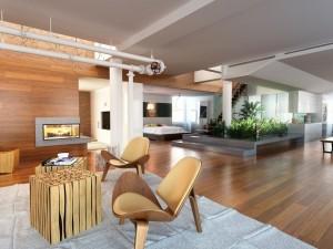 صحنه خانه کامل فضای نشیمن شومینه کف پارکت لمینت پاسیو میز ناهارخوری چوبی تختخواب پله چوبی تلویزیون آشپزخانه مدل آماده رندر | A7AI2901