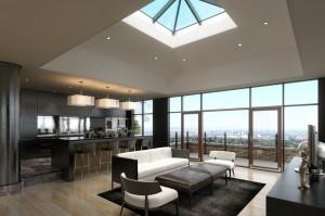 صحنه خانه کامل فضای تلویزیون نشیمن مبل آشپزخانه لوستر صندلی کانتر بالکن تراس سینک گلدان میز ناهارخوری مدل آماده رندر | A7AI2903
