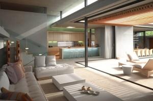 صحنه خانه کامل فضای نشیمن مبل آشپزخانه کابینت صندلی کانتر استخر اتاق تلویزیون مدل آماده رندر | A7AI2904