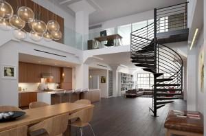صحنه خانه کامل منزل پله گرد کف چوب مبل ال آشپزخانه لوستر میز ناهارخوری کابینت هود گاز اتاق تلویزیون نشیمن کتابخانه مبل راحتی مدل آماده رندر | A7AI2905