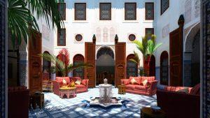 دانلود رندر معماری کلاسیک هتل عربی الجزایر فواره رستوران سنتی معماری اسلامی شرقی عربی اورینتال مدل آماده رندر تری دی مکس وی ری | A7AI3101