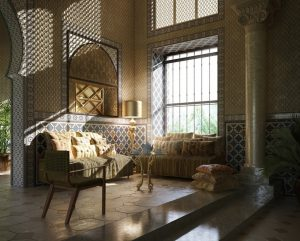 دانلود رندر اتاق نشیمن کلاسیک معماری عربی A7AI3106
