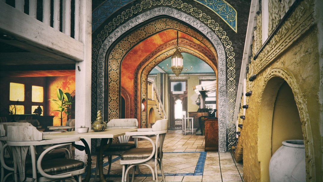 دانلود رندر اتاق نشیمن معماری اسلامی