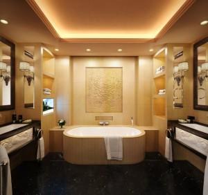 صحنه دستشویی حمام سقف کاذب روشویی وان حوله مدل آماده رندر | A7AI3201