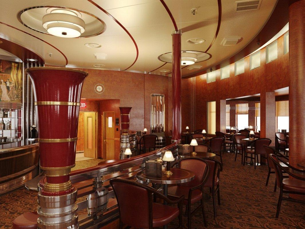 رندر رستوران کافی شاپ کلاسیک چوبی