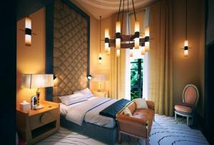 صحنه اتاق خواب کلاسیک تختخواب تخت لوستر پرده مدل آماده رندر   A7AI3208
