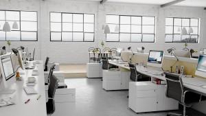 دانلود رندر اتاق کار آفیس مدرن آی مک میز کار میز کافی شاپ لوستر دیوار آجری مدل آماده رندر تری دی مکس وی ری | A7AI3302
