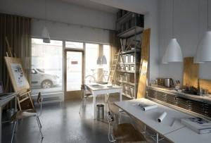 دانلود رندر آفیس طراحی قدیمی آتلیه طراحی مدرن مدل آماده رندر تری دی مکس وی ری | A7AI3306