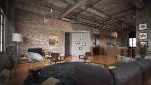 دانلود رندر خانه منزل اتاق نشیمن پذیرایی مطالعه کف پارکت آشپزخانه مبل میز غذاخوری مدل آماده رندر تری دی مکس وی ری | A7AI3405