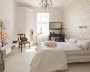 دانلود رندر اتاق خواب دخترانه تخت تختخواب کاغذ دیواری میز توالت مدل آماده رندر تری دی مکس وی ری | A7AI3502