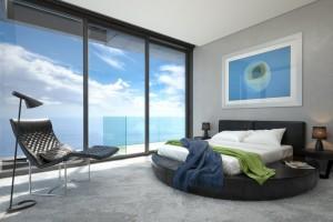 دانلود رندر هتل اتاق خواب مدرن صندلی راحتی آباژور مدل آماده رندر تری دی مکس وی ری | A7AI3503