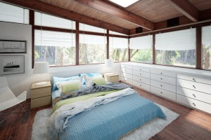 دانلود رندر اتاق خواب هتل ویلا تختخواب سقف چوبی مدل آماده رندر تری دی مکس وی ری | A7AI3506
